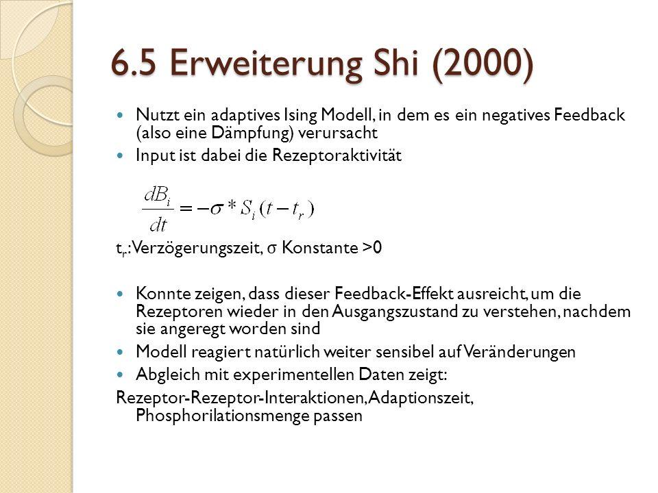 6.5 Erweiterung Shi (2000) Nutzt ein adaptives Ising Modell, in dem es ein negatives Feedback (also eine Dämpfung) verursacht Input ist dabei die Rezeptoraktivität t r : Verzögerungszeit, σ Konstante >0 Konnte zeigen, dass dieser Feedback-Effekt ausreicht, um die Rezeptoren wieder in den Ausgangszustand zu verstehen, nachdem sie angeregt worden sind Modell reagiert natürlich weiter sensibel auf Veränderungen Abgleich mit experimentellen Daten zeigt: Rezeptor-Rezeptor-Interaktionen, Adaptionszeit, Phosphorilationsmenge passen