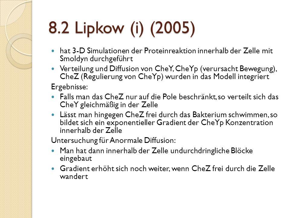 8.2 Lipkow (i) (2005) hat 3-D Simulationen der Proteinreaktion innerhalb der Zelle mit Smoldyn durchgeführt Verteilung und Diffusion von CheY, CheYp (verursacht Bewegung), CheZ (Regulierung von CheYp) wurden in das Modell integriert Ergebnisse: Falls man das CheZ nur auf die Pole beschränkt, so verteilt sich das CheY gleichmäßig in der Zelle Lässt man hingegen CheZ frei durch das Bakterium schwimmen, so bildet sich ein exponentieller Gradient der CheYp Konzentration innerhalb der Zelle Untersuchung für Anormale Diffusion: Man hat dann innerhalb der Zelle undurchdringliche Blöcke eingebaut Gradient erhöht sich noch weiter, wenn CheZ frei durch die Zelle wandert