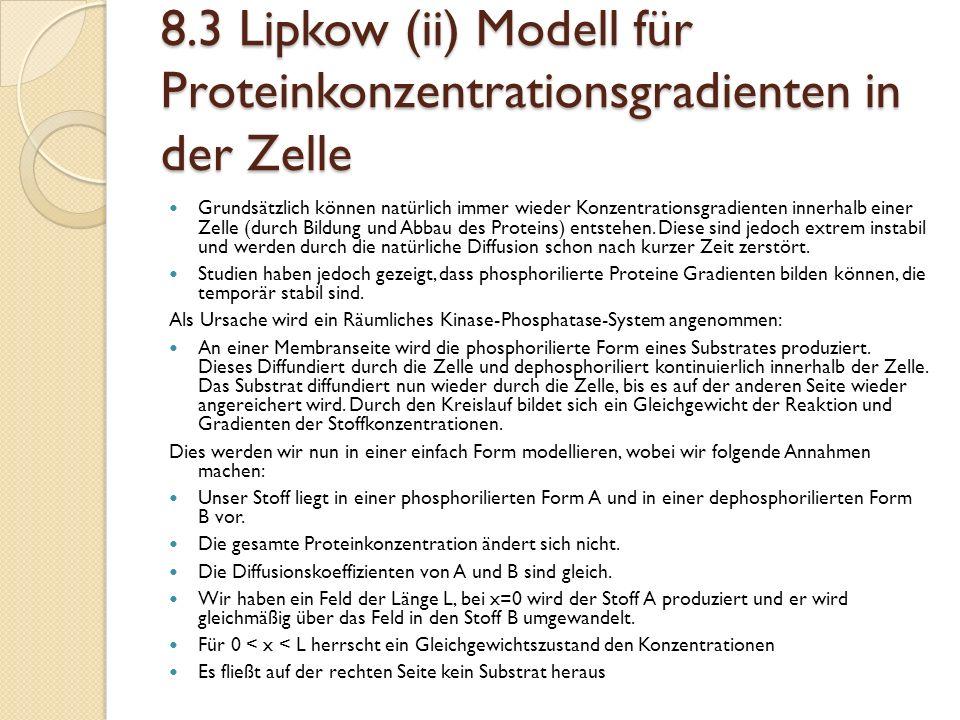 8.3 Lipkow (ii) Modell für Proteinkonzentrationsgradienten in der Zelle Grundsätzlich können natürlich immer wieder Konzentrationsgradienten innerhalb einer Zelle (durch Bildung und Abbau des Proteins) entstehen.