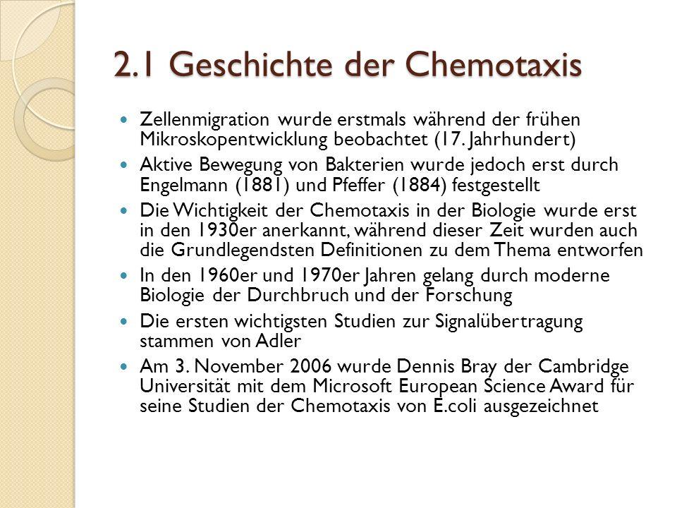 2.1 Geschichte der Chemotaxis Zellenmigration wurde erstmals während der frühen Mikroskopentwicklung beobachtet (17.