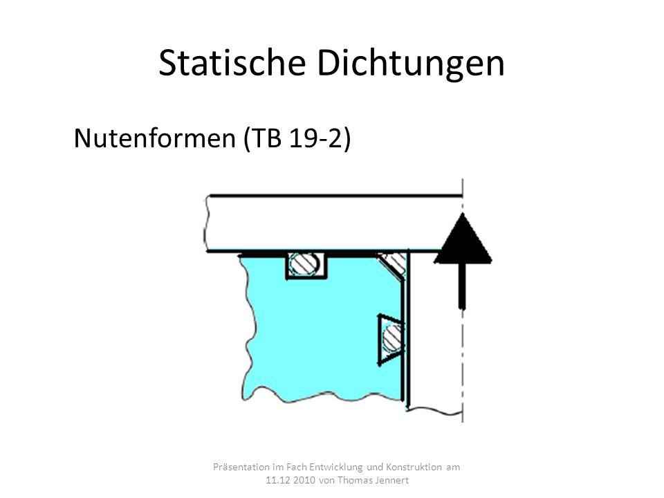 Statische Dichtungen Nutenformen (TB 19-2) Präsentation im Fach Entwicklung und Konstruktion am 11.12 2010 von Thomas Jennert