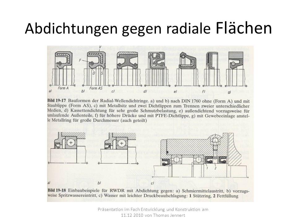 Abdichtungen gegen radiale Flächen Präsentation im Fach Entwicklung und Konstruktion am 11.12 2010 von Thomas Jennert