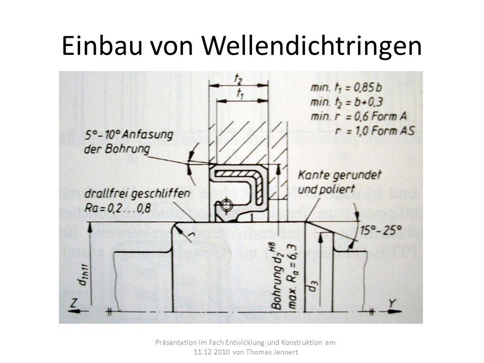 Einbau von Wellendichtringen Präsentation im Fach Entwicklung und Konstruktion am 11.12 2010 von Thomas Jennert