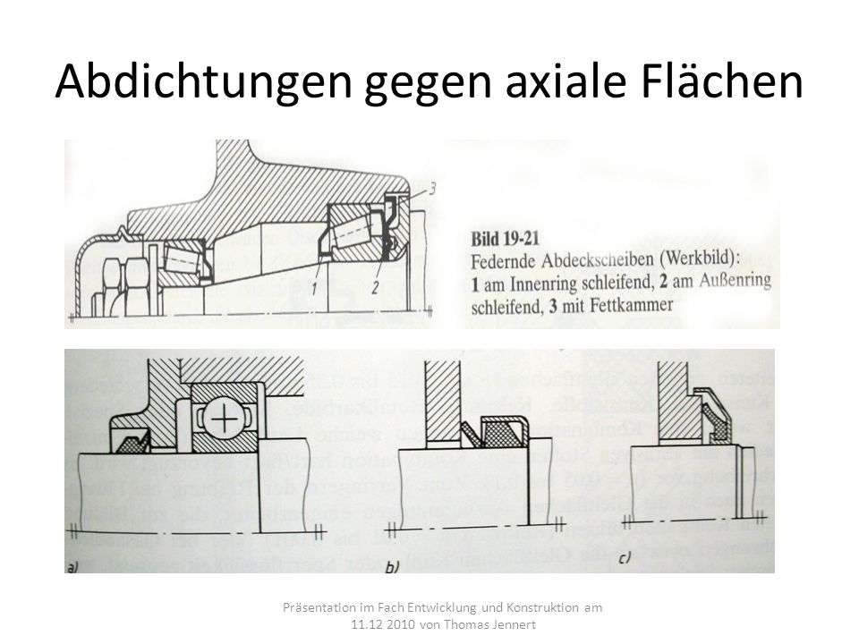 Abdichtungen gegen axiale Flächen Präsentation im Fach Entwicklung und Konstruktion am 11.12 2010 von Thomas Jennert