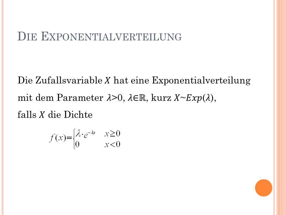 D IE E XPONENTIALVERTEILUNG Die Zufallsvariable hat eine Exponentialverteilung mit dem Parameter >0,, kurz ~(), falls die Dichte