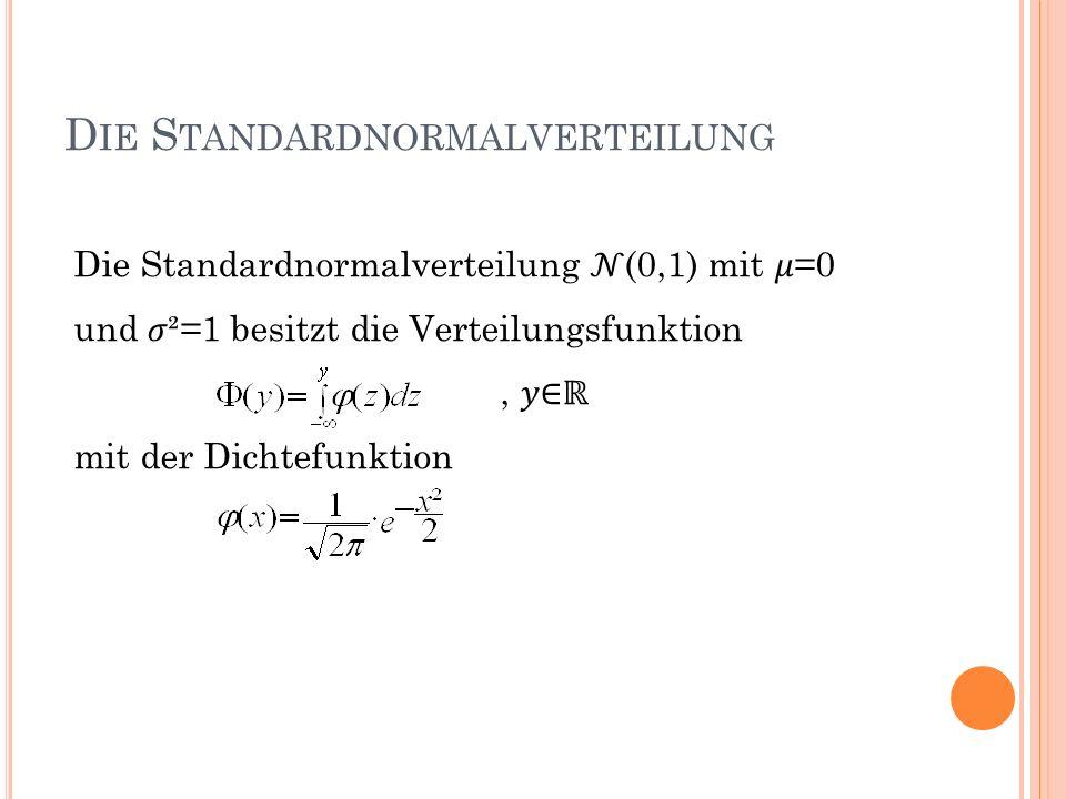 D IE S TANDARDNORMALVERTEILUNG Die Standardnormalverteilung (0,1) mit =0 und ²=1 besitzt die Verteilungsfunktion, mit der Dichtefunktion