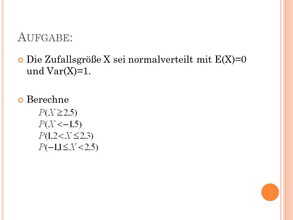 A UFGABE : Die Zufallsgröße X sei normalverteilt mit E(X)=0 und Var(X)=1. Berechne