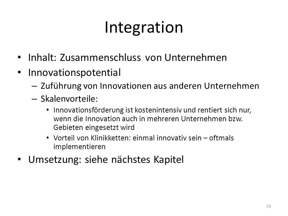Integration Inhalt: Zusammenschluss von Unternehmen Innovationspotential – Zuführung von Innovationen aus anderen Unternehmen – Skalenvorteile: Innovationsförderung ist kostenintensiv und rentiert sich nur, wenn die Innovation auch in mehreren Unternehmen bzw.