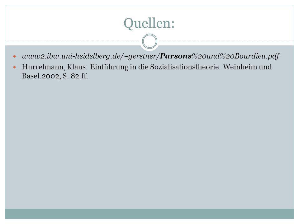 Quellen: www2.ibw.uni-heidelberg.de/~gerstner/Parsons%20und%20Bourdieu.pdf Hurrelmann, Klaus: Einführung in die Sozialisationstheorie. Weinheim und Ba