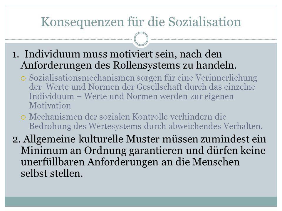 Konsequenzen für die Sozialisation 1. Individuum muss motiviert sein, nach den Anforderungen des Rollensystems zu handeln. Sozialisationsmechanismen s