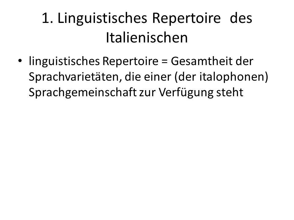 1. Linguistisches Repertoire des Italienischen linguistisches Repertoire = Gesamtheit der Sprachvarietäten, die einer (der italophonen) Sprachgemeinsc