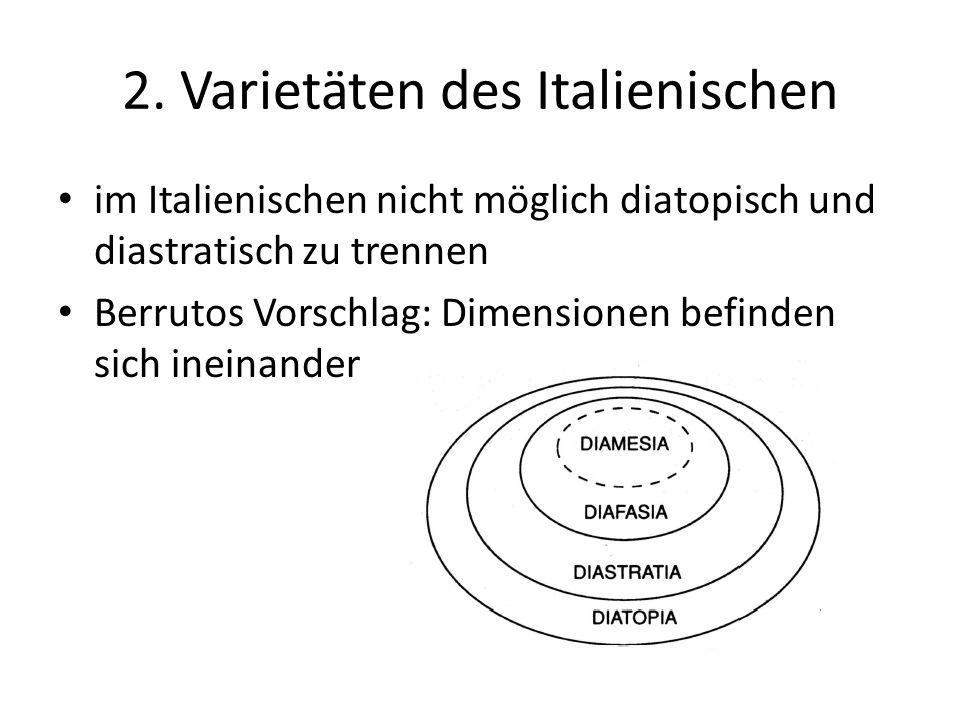2. Varietäten des Italienischen im Italienischen nicht möglich diatopisch und diastratisch zu trennen Berrutos Vorschlag: Dimensionen befinden sich in