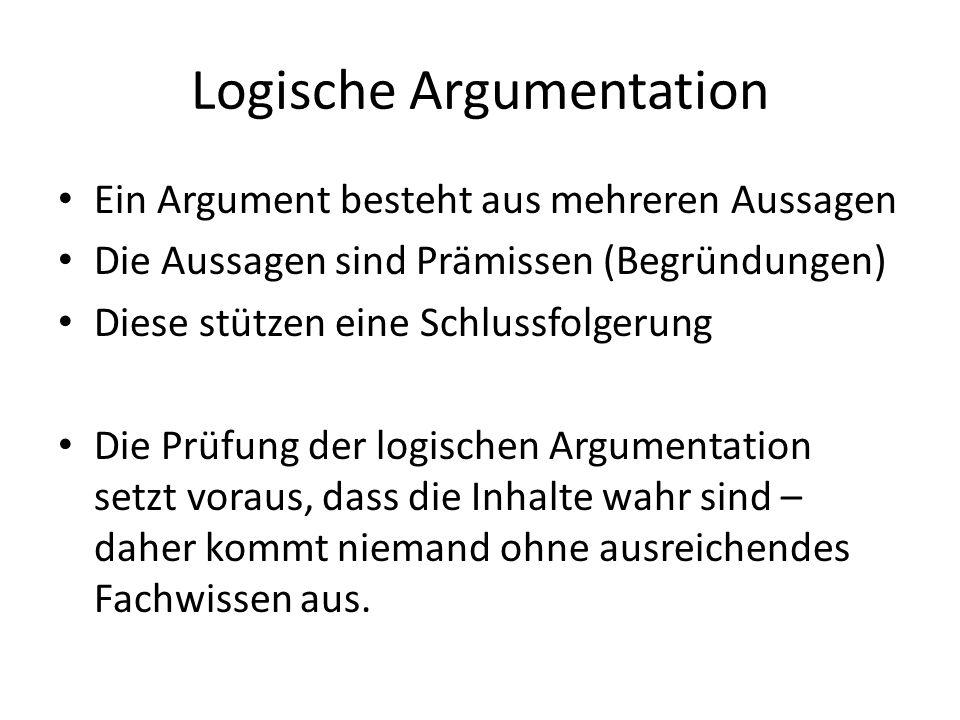 Logische Argumentation Ein Argument besteht aus mehreren Aussagen Die Aussagen sind Prämissen (Begründungen) Diese stützen eine Schlussfolgerung Die P