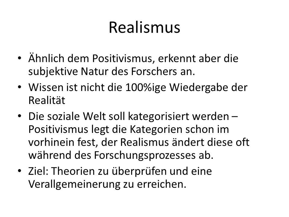 Realismus Ähnlich dem Positivismus, erkennt aber die subjektive Natur des Forschers an. Wissen ist nicht die 100%ige Wiedergabe der Realität Die sozia