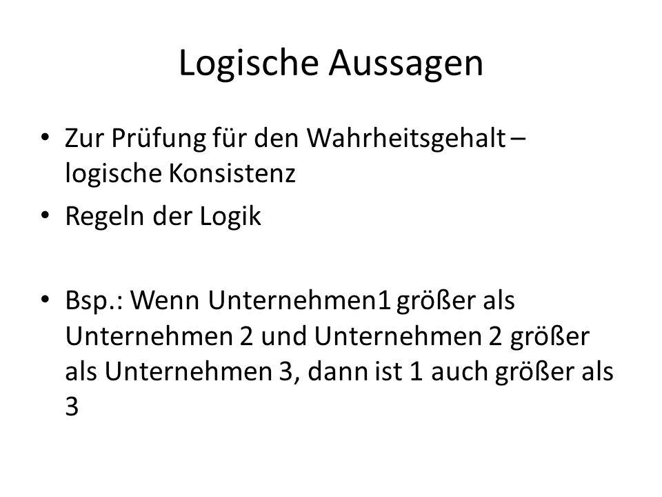 Logische Aussagen Zur Prüfung für den Wahrheitsgehalt – logische Konsistenz Regeln der Logik Bsp.: Wenn Unternehmen1 größer als Unternehmen 2 und Unte