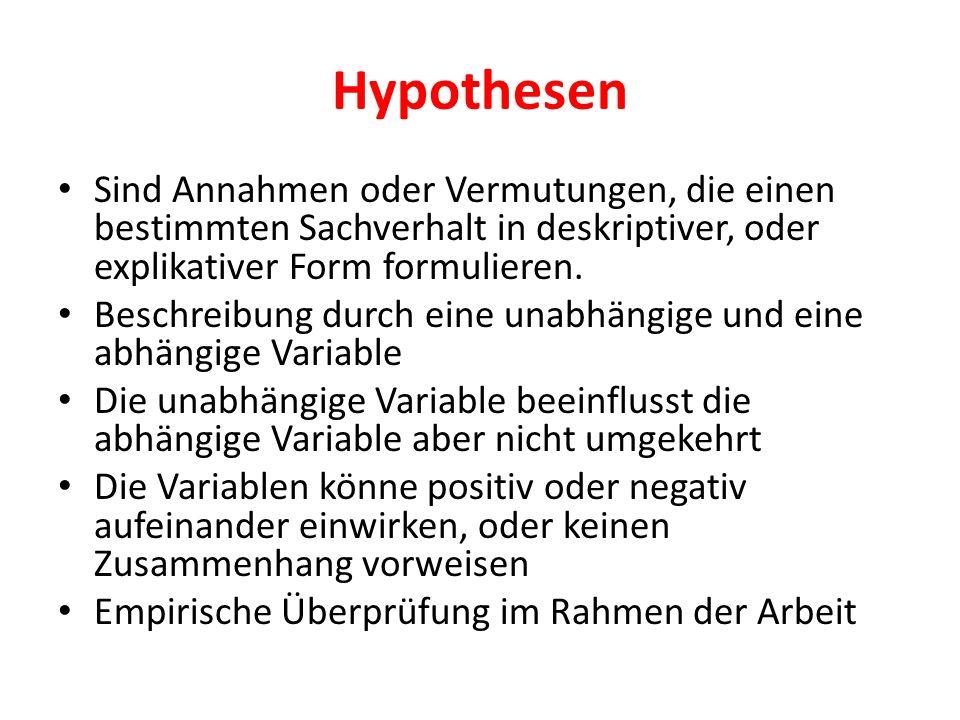 Hypothesen Sind Annahmen oder Vermutungen, die einen bestimmten Sachverhalt in deskriptiver, oder explikativer Form formulieren. Beschreibung durch ei