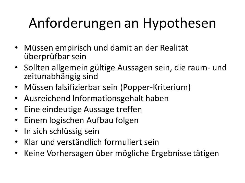 Anforderungen an Hypothesen Müssen empirisch und damit an der Realität überprüfbar sein Sollten allgemein gültige Aussagen sein, die raum- und zeituna