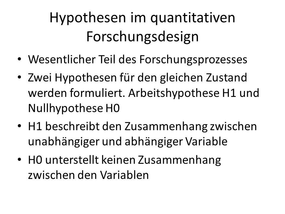 Hypothesen im quantitativen Forschungsdesign Wesentlicher Teil des Forschungsprozesses Zwei Hypothesen für den gleichen Zustand werden formuliert. Arb
