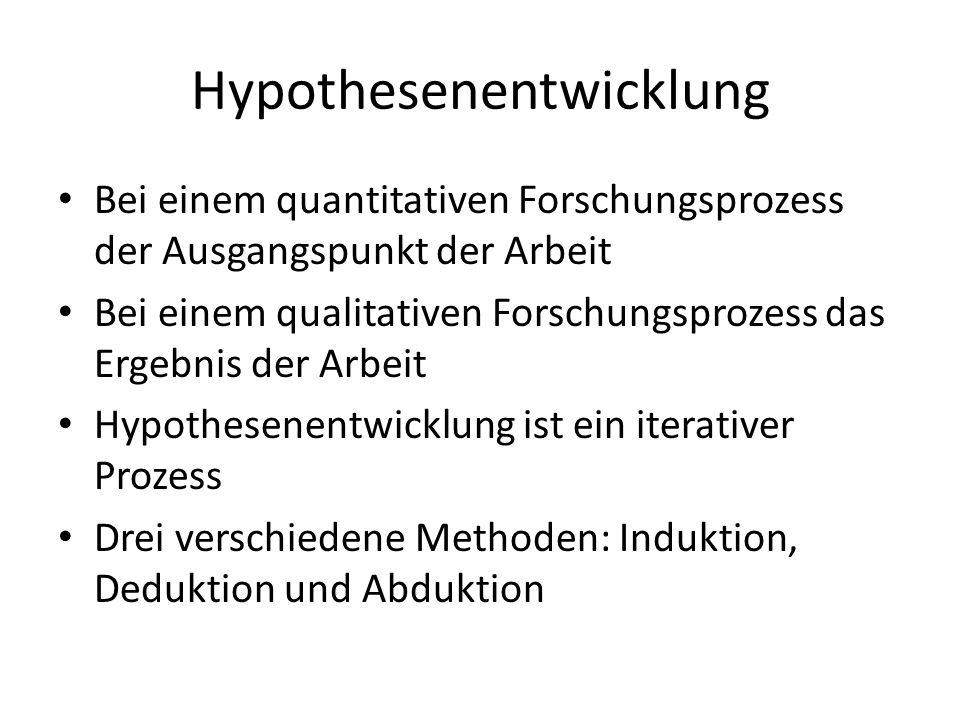 Hypothesenentwicklung Bei einem quantitativen Forschungsprozess der Ausgangspunkt der Arbeit Bei einem qualitativen Forschungsprozess das Ergebnis der