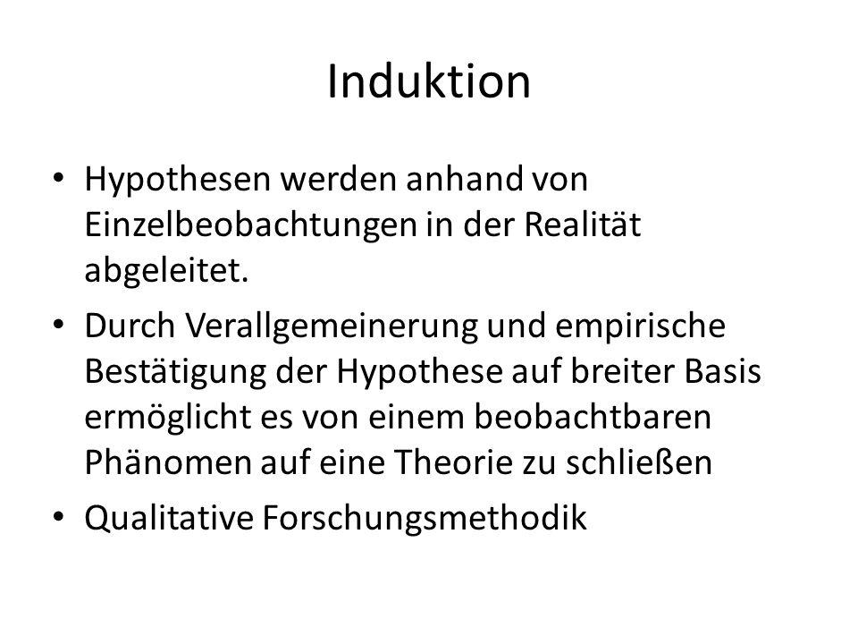 Induktion Hypothesen werden anhand von Einzelbeobachtungen in der Realität abgeleitet. Durch Verallgemeinerung und empirische Bestätigung der Hypothes