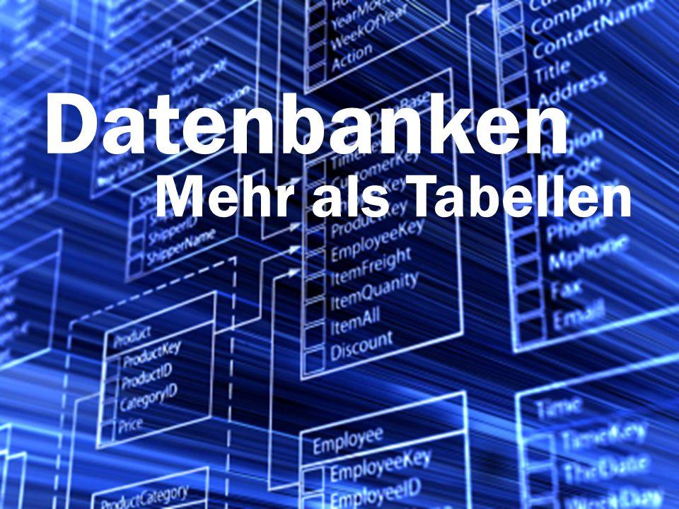 Datenbank Abfragen mit SQL: Eine Tabelle filtern Tabellen realer Datenbanken können sehr viele Informationen speichern: Viele Spalten und häufig sehr viele (Millionen, Milliarden) Zeilen.