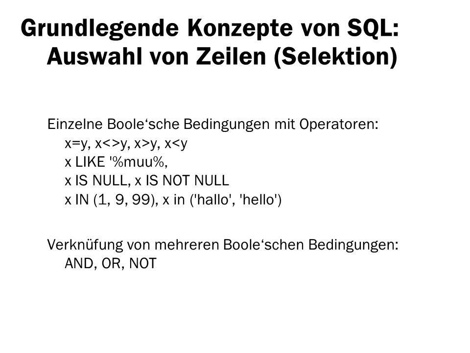 Grundlegende Konzepte von SQL: Auswahl von Zeilen (Selektion) Einzelne Boolesche Bedingungen mit Operatoren: x=y, x<>y, x>y, x<y x LIKE '%muu% x IS NU