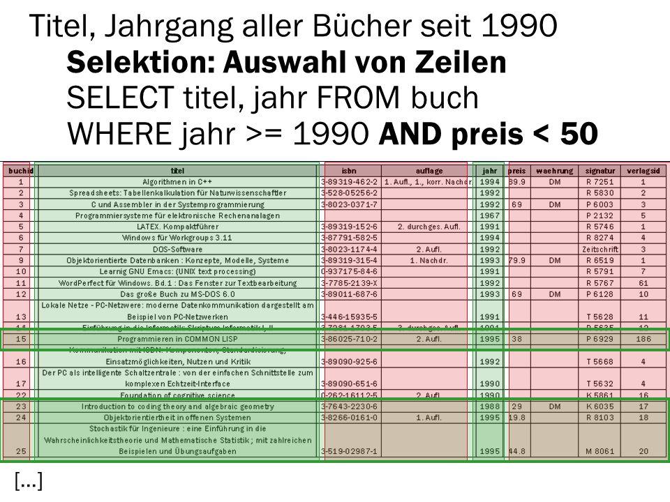 Titel, Jahrgang aller Bücher seit 1990 Selektion: Auswahl von Zeilen SELECT titel, jahr FROM buch WHERE jahr >= 1990 AND preis < 50 […]