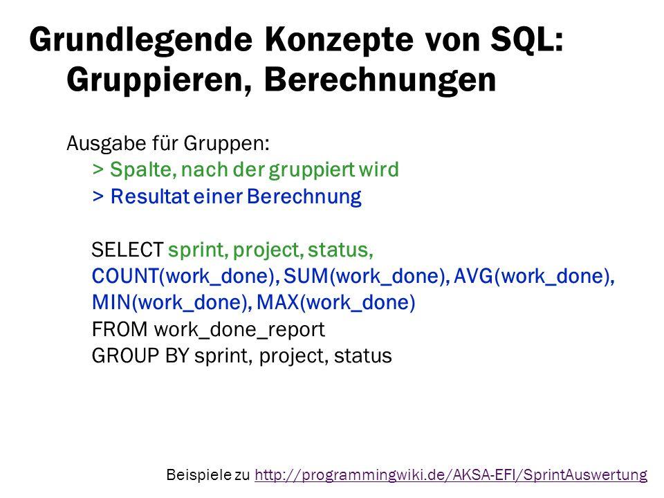 Grundlegende Konzepte von SQL: Gruppieren, Berechnungen Ausgabe für Gruppen: > Spalte, nach der gruppiert wird > Resultat einer Berechnung SELECT spri