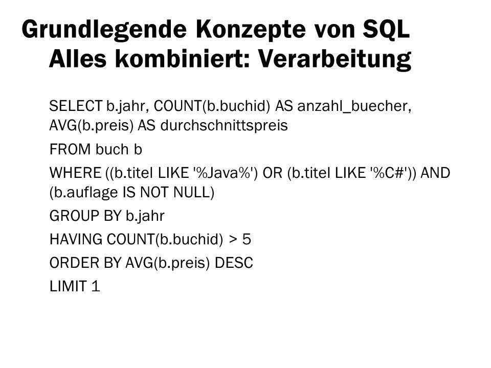 Grundlegende Konzepte von SQL Alles kombiniert: Verarbeitung SELECT b.jahr, COUNT(b.buchid) AS anzahl_buecher, AVG(b.preis) AS durchschnittspreis FROM