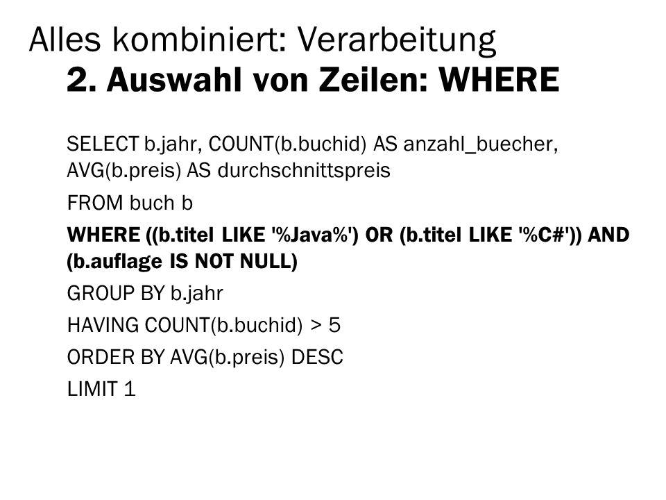 Alles kombiniert: Verarbeitung 2. Auswahl von Zeilen: WHERE SELECT b.jahr, COUNT(b.buchid) AS anzahl_buecher, AVG(b.preis) AS durchschnittspreis FROM