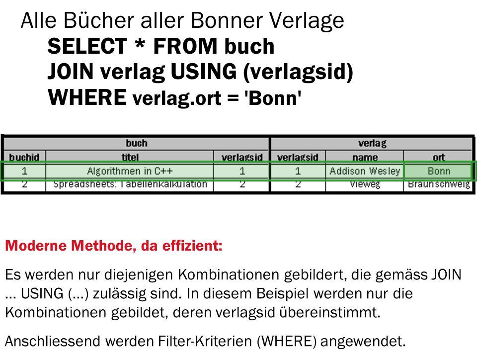 Alle Bücher aller Bonner Verlage SELECT * FROM buch JOIN verlag USING (verlagsid) WHERE verlag.ort = 'Bonn' Moderne Methode, da effizient: Es werden n