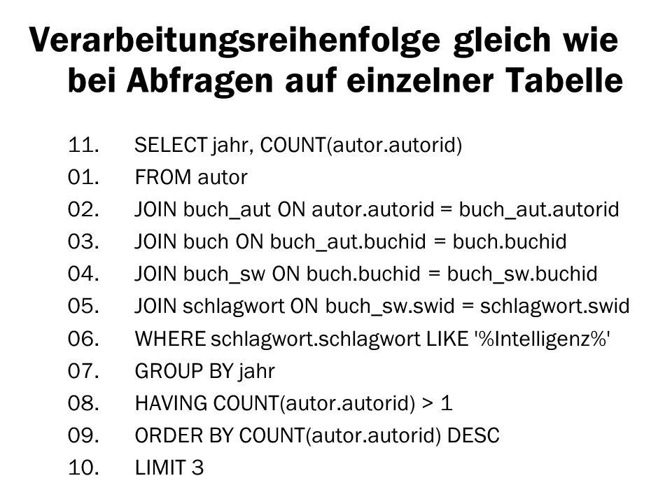 Verarbeitungsreihenfolge gleich wie bei Abfragen auf einzelner Tabelle 11. SELECT jahr, COUNT(autor.autorid) 01. FROM autor 02. JOIN buch_aut ON autor