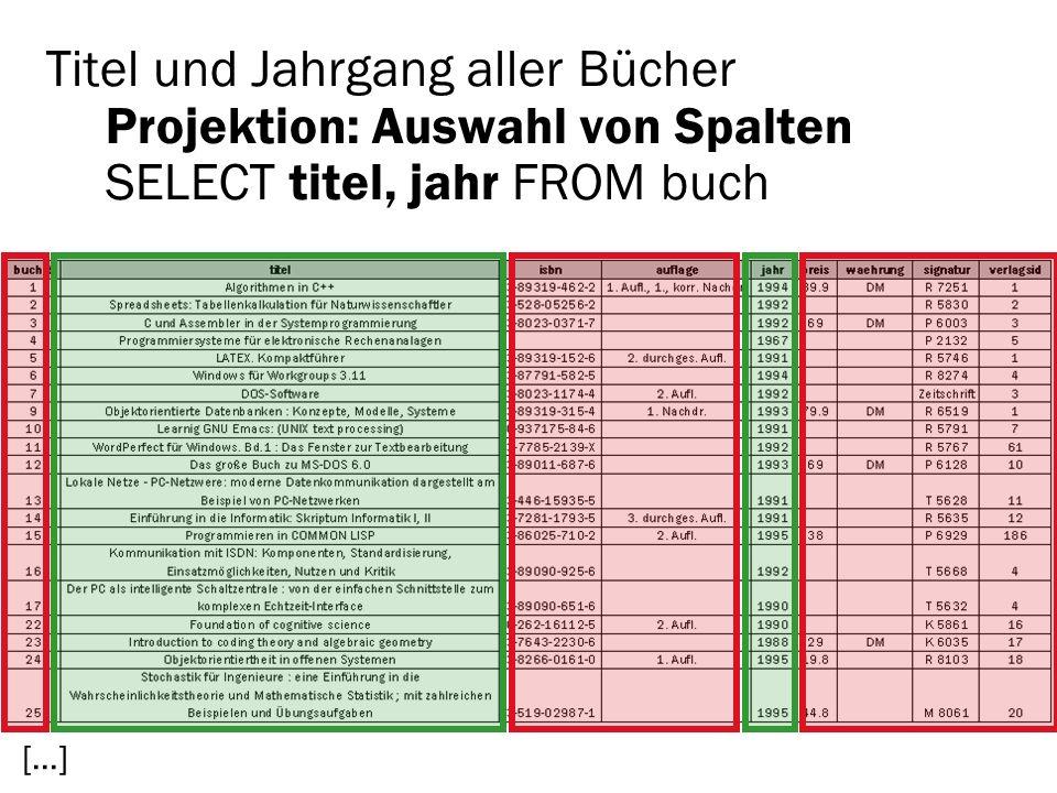 Titel und Jahrgang aller Bücher Projektion: Auswahl von Spalten SELECT titel, jahr FROM buch […]