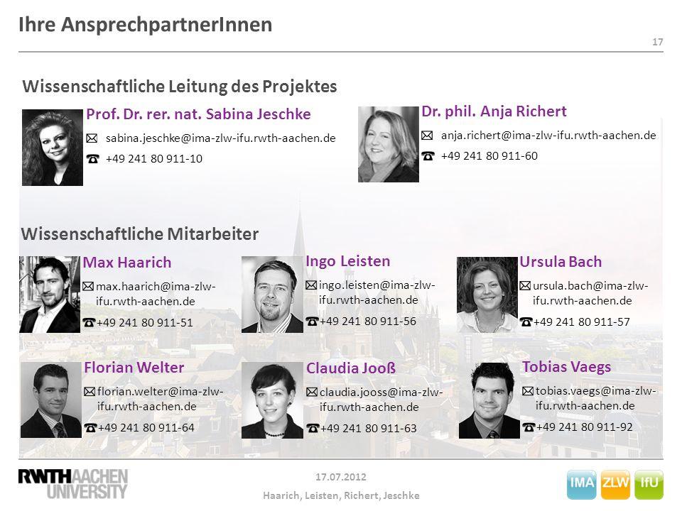18 17.07.2012 Haarich, Leisten, Richert, Jeschke Herzlichen Dank für Ihre Aufmerksamkeit.