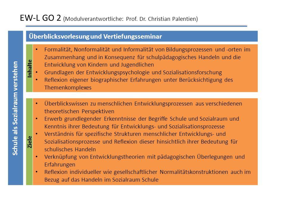EW-L GO 1 (Modulverantwortliche: Prof. Dr. Till-Sebastian Idel; Dr. Angela Bolland) Ziele grundsätzliche Kenntnis pädagogischer Problemstellungen und