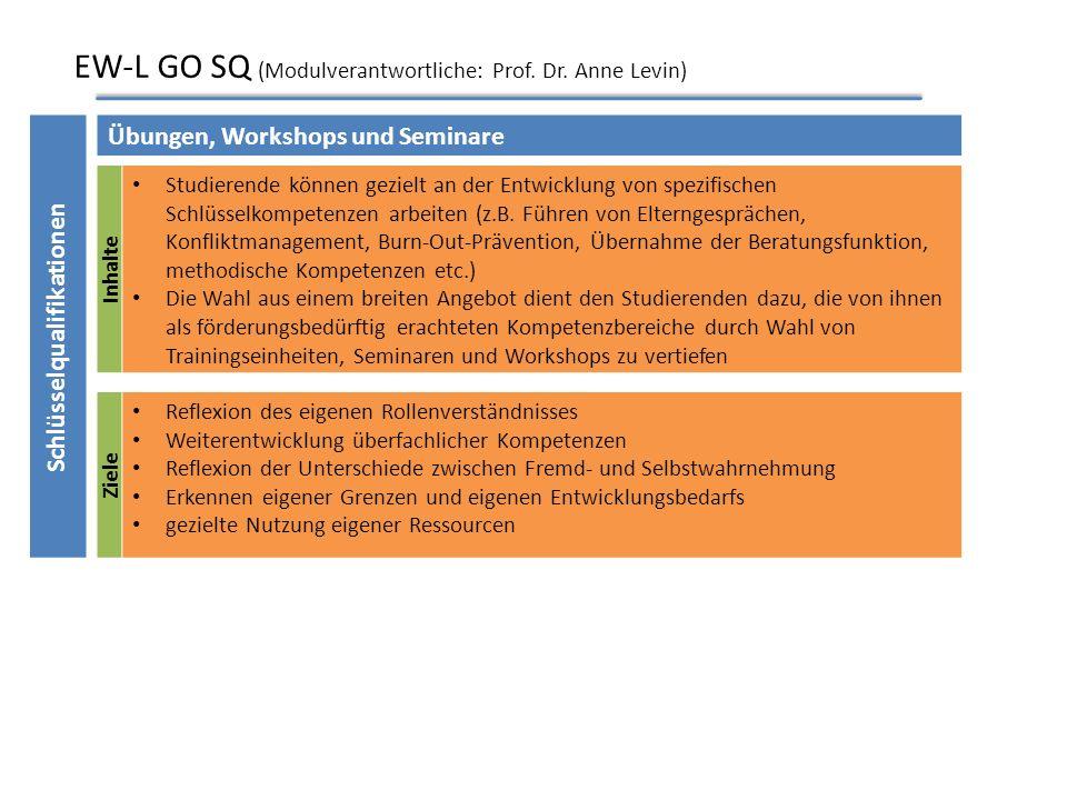 EW-L GO 2 (Modulverantwortliche: Prof. Dr. Christian Palentien) Ziele Überblickswissen zu menschlichen Entwicklungsprozessen aus verschiedenen theoret