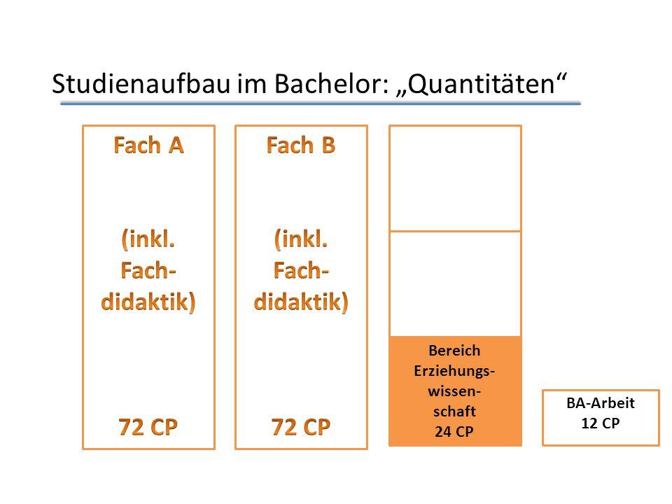 Studienaufbau im Bachelor: Quantitäten Bereich Erziehungs- wissen- schaft 24 CP BA-Arbeit 12 CP