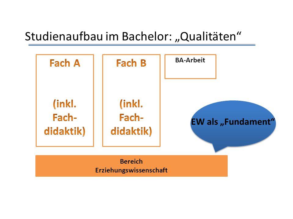 Studienaufbau im Bachelor: Qualitäten Bereich Erziehungswissenschaft BA-Arbeit EW als Fundament