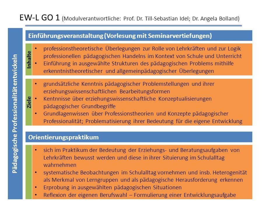 Studienverlaufsplan im Bereich EW ModulVeranstaltungPrüfungsform WiSe (2013/14) EW-L GO2 (6 CP) Schule als Sozialraum verstehenVorlesung und Vertiefun