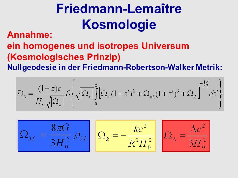 Friedmann-Lemaître Kosmologie Annahme: ein homogenes und isotropes Universum (Kosmologisches Prinzip) Nullgeodesie in der Friedmann-Robertson-Walker M