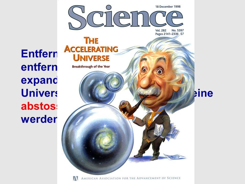 Was bedeutet das? Entfernte Supernovae sind weiter entfernt als in einem frei expandierenden, ungebremsten Universum. Dies kann nur durch eine abstoss