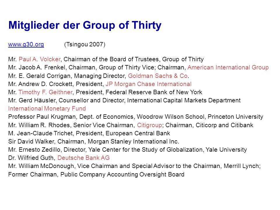 Mitglieder der Group of Thirty ) Mr.