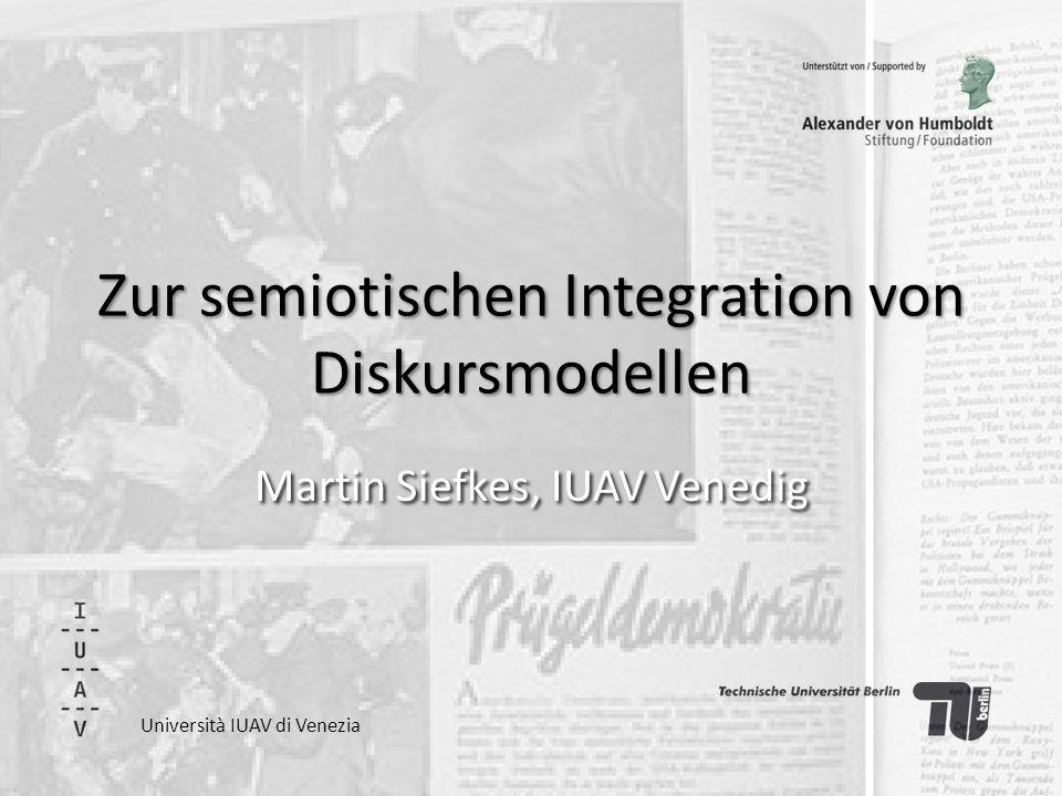 Hintergrund Heft der Zeitschrift für Semiotik: Neue Methoden der Diskursanalyse (geplant für Ende 2013) Vorwort für dieses Heft: Integration unter semiotischer Perspektive