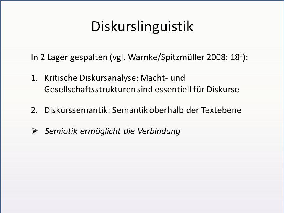 Diskurslinguistik In 2 Lager gespalten (vgl. Warnke/Spitzmüller 2008: 18f): 1.Kritische Diskursanalyse: Macht- und Gesellschaftsstrukturen sind essent