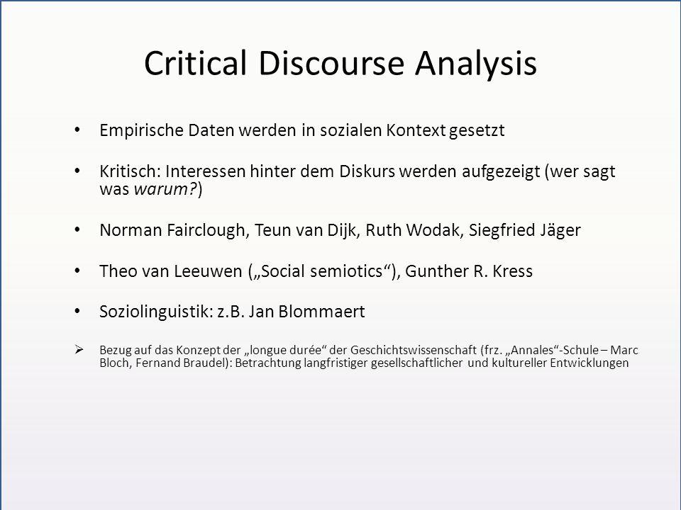 Korpusanalyse Sprachgebrauchsmuster (Bubenhofer 2009) Diskurs als Muster, die primär auf der Ausdrucksebene verortet werden Nachteil: es wird kein Verfahren angegeben, das inhaltliche Muster findet Wissensstrukturen oder bloße Formulierungskonventionen?