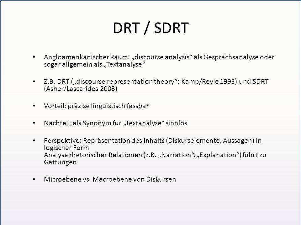 DRT / SDRT Angloamerikanischer Raum: discourse analysis als Gesprächsanalyse oder sogar allgemein als Textanalyse Z.B. DRT (discourse representation t