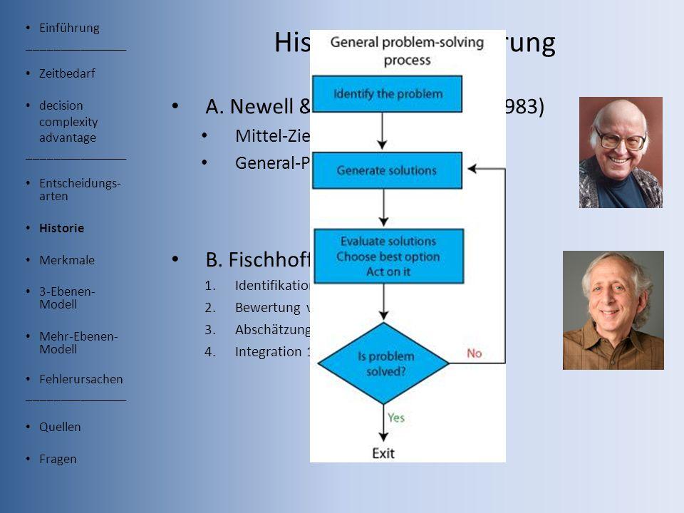 Einführung _______________ Zeitbedarf decision complexity advantage _______________ Entscheidungs- arten Historie Merkmale 3-Ebenen- Modell Mehr-Ebenen- Modell Fehlerursachen _______________ Quellen Fragen Historische Einführung A.