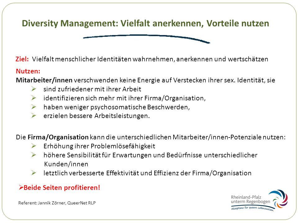 Diversity Management: Vielfalt anerkennen, Vorteile nutzen Ziel: Vielfalt menschlicher Identitäten wahrnehmen, anerkennen und wertschätzen Referent: J
