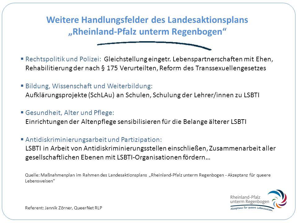 Referent: Jannik Zörner, QueerNet RLP Weitere Handlungsfelder des Landesaktionsplans Rheinland-Pfalz unterm Regenbogen Rechtspolitik und Polizei: Glei