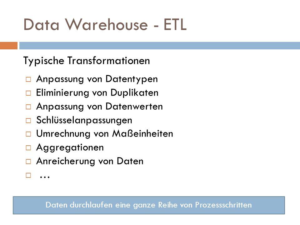Data Warehouse - ETL Typische Transformationen Anpassung von Datentypen Eliminierung von Duplikaten Anpassung von Datenwerten Schlüsselanpassungen Umrechnung von Maßeinheiten Aggregationen Anreicherung von Daten … Daten durchlaufen eine ganze Reihe von Prozessschritten